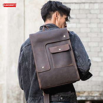 New Men's Backpack genuine leather student bag large capacity shoulder bags retro First layer leahter computer travel backpacks