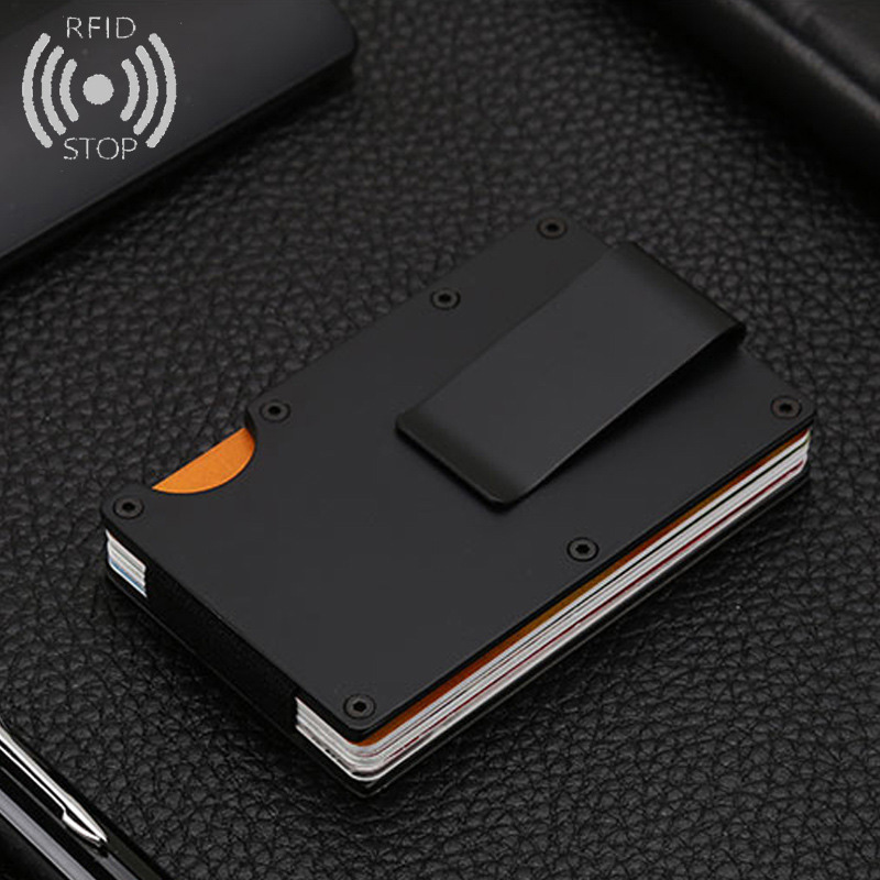 Men Women Credit Card Holder Anti Protect Blocking Rfid Wallet Portable ID Card Holder Clip Porte Carte Travel Metal Case rfid blocking genuine leather men card holder male credit card case bank id card bag luxury wallet high quality porte carte