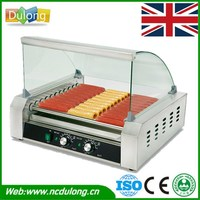 Brand New 2200W Electric Commercial Hot Dog Maker 9 Roller Grilling Warmer Cooker Machine
