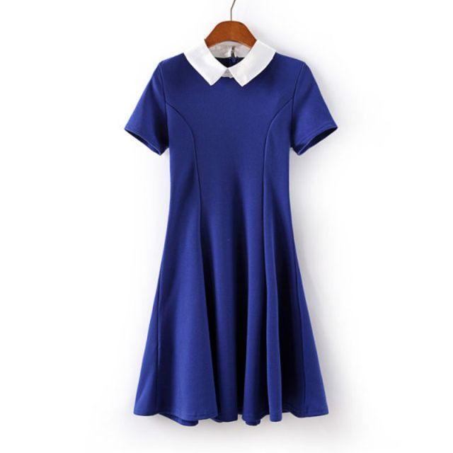 Elegant Women Vestidos Peter Pan Collar Dress Party Lady Short Sleeve  Office Dresses School Sundress-in Dresses from Women s Clothing on  Aliexpress.com ... 16c09c477