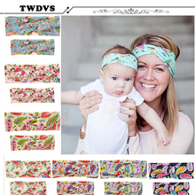 Kids&Mother Paternity Style Flower Cross Knot Elastic Hair Band Women Knot Ring Hair Accessories Newborn Flower Headband W207