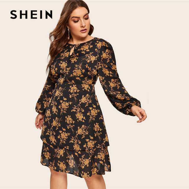 SHEIN Plus Size Multicolor Botanical Print Layered Button Ruffle Dress Women 2019 Spring Office Lady Knee Length Dress 3