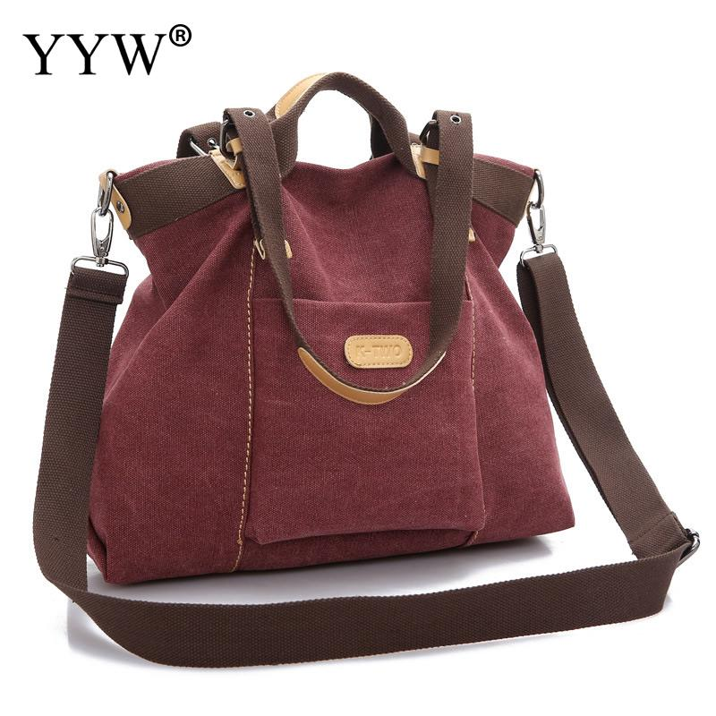Famous Fashion Female Shoulder Bag Brown Canvas Women Handbags Red Casual Totel Bag Blue Purple Zipper Crossbody Bags Women Bag