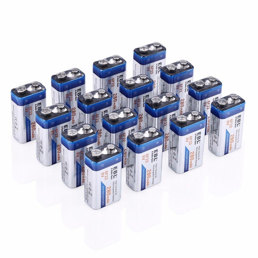 16 pcs/lot EBL 6F22 280 mAh 9 v batterie Rechargeable 9 volts Ni-MH Batteries de remplacement universel livraison gratuite