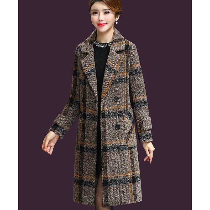 Nouveau automne hiver laine femmes poches à carreaux mélanges travail de bureau double boutonnage Long manteaux décontracté Lady Slim à manches longues veste