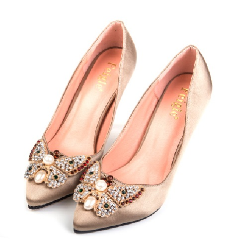 ФОТО Spring high-heeled pointed toe small 31 32 33 single shoes female plus size 40 41 42 43 wedding shoes free shipping