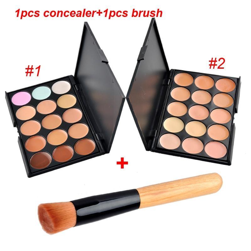 15Colors Concealer Face Primer Cream Contour Blusher Palette Makeup Powder Facial Contouring Corrector Palette with makeup brush 15 colors makeup concealer brush cream palette