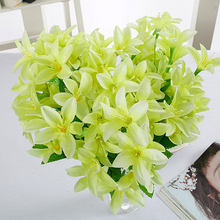 10 Fork 30 Heads Artificial Narcissus Fake Flowers with Leaf Bouquet Faux Daffodils Shrubs Plants Wedding Home Room Decor
