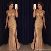 Luxurious Bridesmaid Dresses 2018 Mermaid V neck Tulle Crystals Slit Sexy Islamic Dubai Kaftan Saudi Arabic Long Prom Gowns