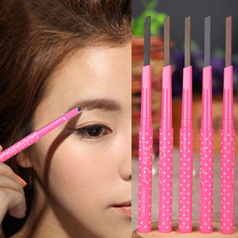 ファッションピンク1ピース防水耐久性アイブローペンシルアイ眉ライナーパウダーメイクツール(