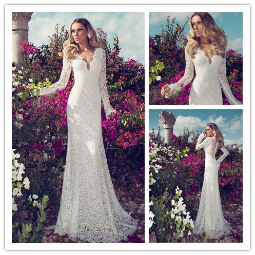 2014 sexy slim mermaid lace wedding dresses with long for Long sleeve slim wedding dresses