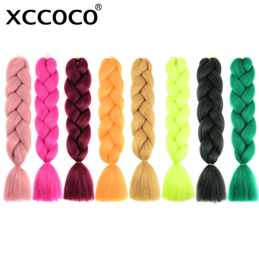 XCCOCO Synthetic Braiding Hair Jumbo Braids Ombre 24'' Two Three Tone Color 100g Crochet Hair Extensions