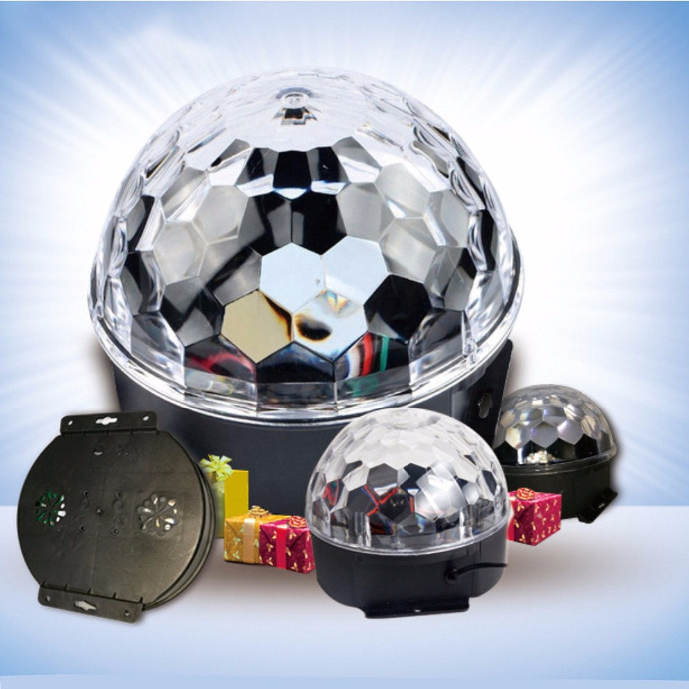 Auto/Sound Control Colorful RGB Effect Light 6Led Crystal Magic Ball Led Stage Lamp Disco Laser Light Party Lights KTV Light