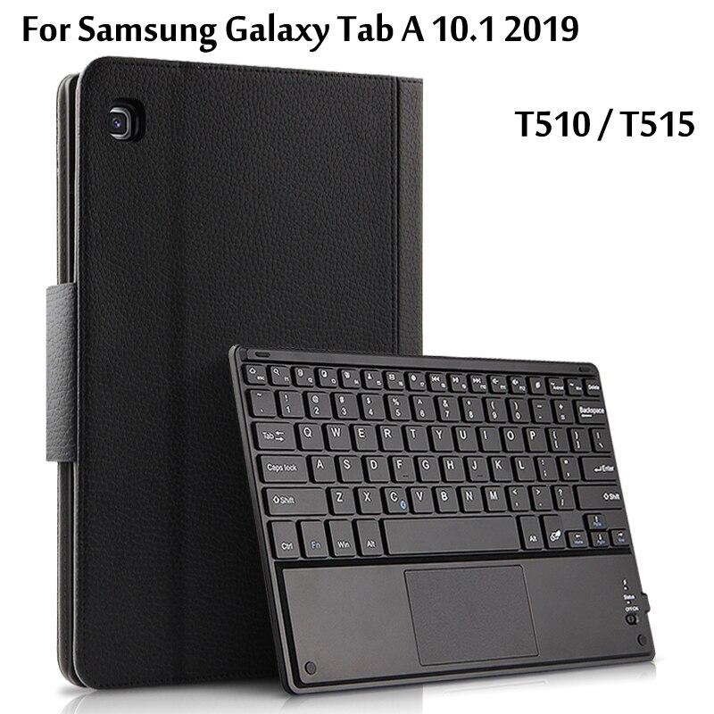 Sans fil étui pour clavier bluetooth Pour Samsung Galaxy Tab A 10.1 2019 SM-T510 T510 T515 étui pour tablette En Cuir Funda Couverture