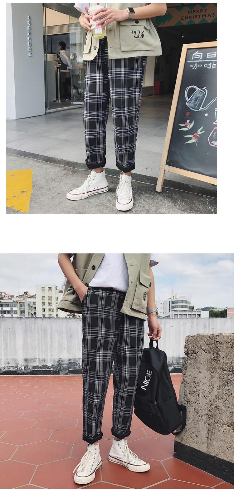 LAPPSTER Streetwear Yellow Plaid Pants Men Joggers 19 Man Casual Straight Harem Pants Men Korean Hip Hop Track Pants Plus Size 12