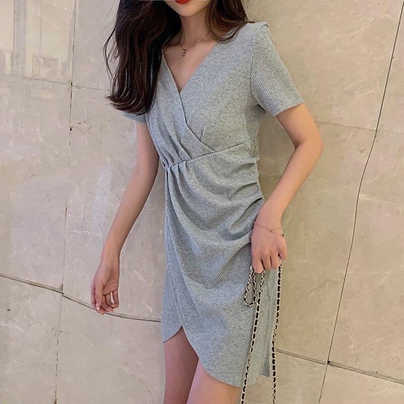 Luftmensch Robe d'été 2019 bref manches courtes col en v Slim Sexy tricot drapée Robe Femme élégant solide crayon Robe noire S-L