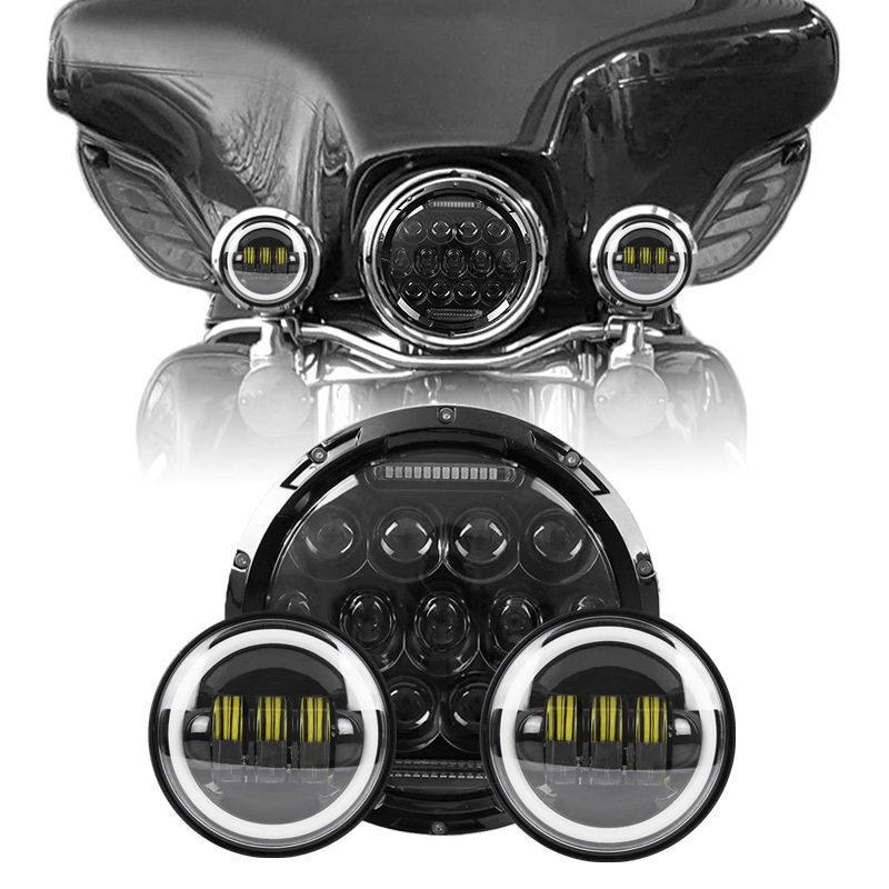 7 Projector Light 75W Hi/Low Beam Motorcycle LED Headlight + 2PCS 4.5  Led Motorcycle Headlight Fog Passing Light For Harley