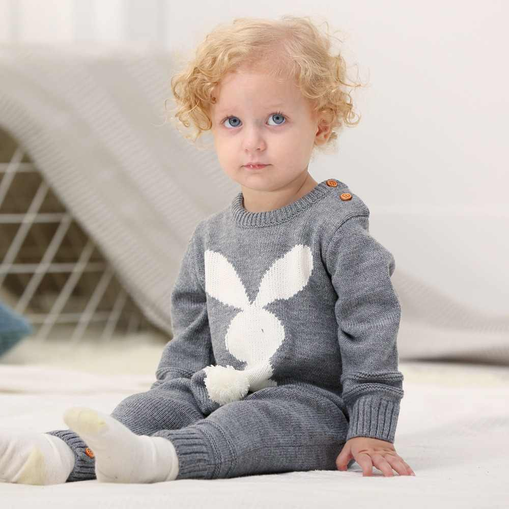 1e3dd4315f50 Spring Baby Girl Clothes 3D Rabbit Knit Jumpsuits for Newborns Long Sleeve  Toddler Boy Rompers Autumn