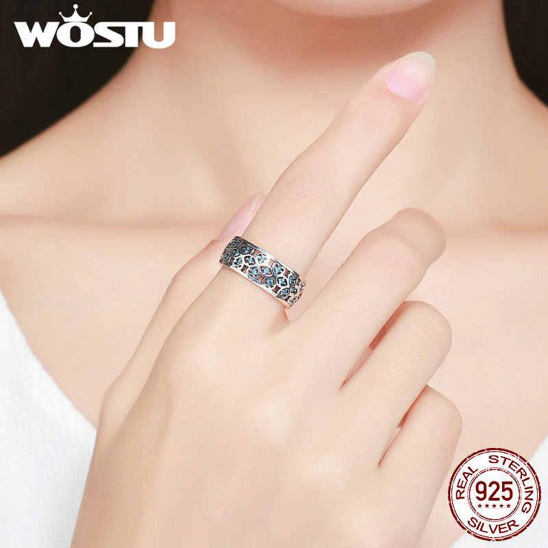 WOSTU แท้ 925 เงินสเตอร์ลิง Openwork Lucky Clover Zircon หินกว้างแหวนผู้หญิง S925 เครื่องประดับ CQR064