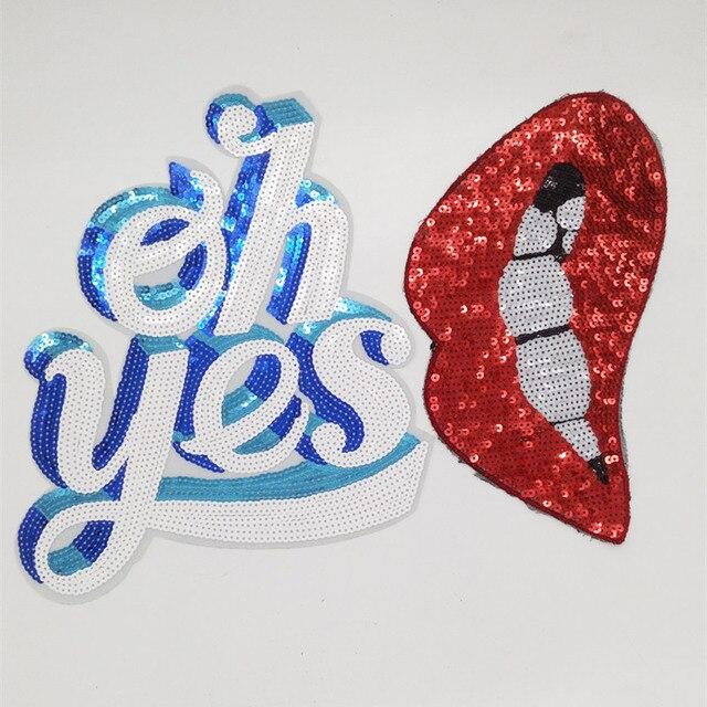 Vêtements patch vêtements et couture tissu mignon lettre oh oui blanc logo mode lèvres rouges paillettes de fer sur les patchs pour les vêtements