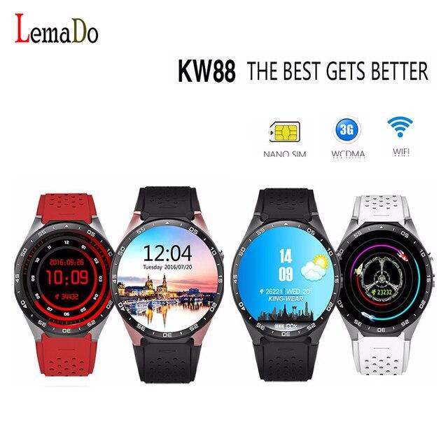 KingWear KW88 MTK6580 ОС android 5.1 Wi-Fi Smart Watch phone Сердечного ритма GPS Google Play smartwatch для Huawei android apple