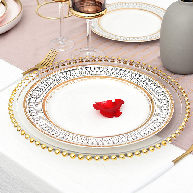 Nordic Gold Bead Glass Charger Dinner Plated Dish Decorative Salad Fruit Wedding Plate Dinner.jpg 640x640 - dinnerware - Nordic Ceramic Luxury Wedding Plates