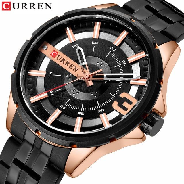 CURREN hommes montre de mode Quartz en acier inoxydable bande montre-bracelet entreprise Unique Design cadran étanche horloge Relogio Masculino