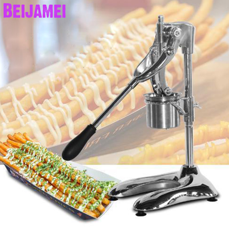 BEIJAMEI 2020 Mashed Long Potatoes Fried Chip Extruders Super Long French Fries Maker Machine Manual Potato Chips Making