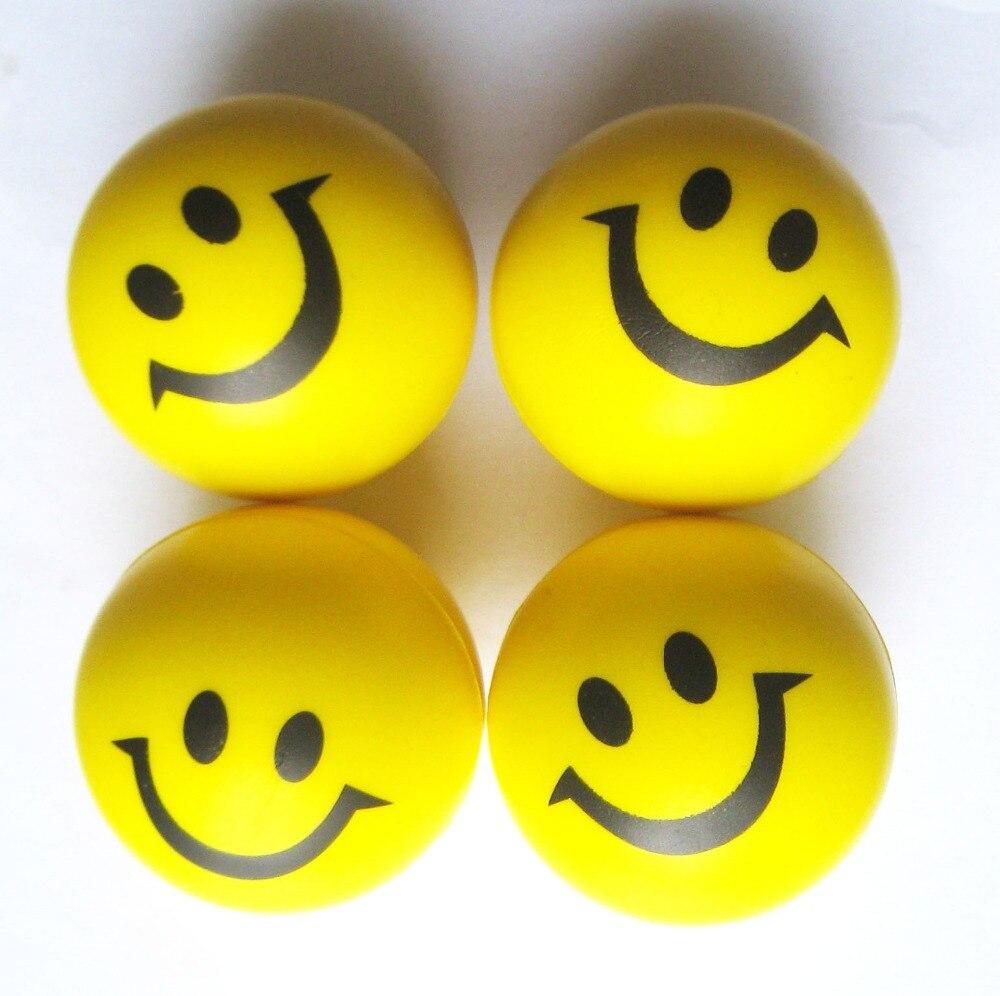 6 3 Cm Diametre Pu Mousse 4 Pcs Lote Mixte Couleur Smiley Visage Balle Anti Stress Pu Sourire Visage Main Ballon D Exercice Aliexpress