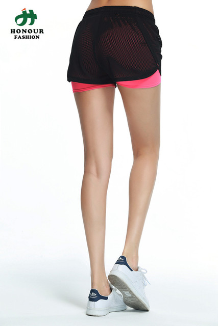 Women Mesh Cover Solid Inner Sports Shorts