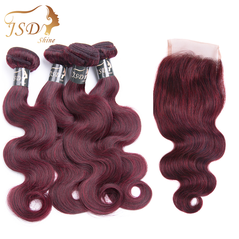 JSDShine Brazilian Body Wave Hair Bundles With 4*4 Lace Closure Color 99j Unprocessed Human Hair Non Remy Free Shipping 4 PC