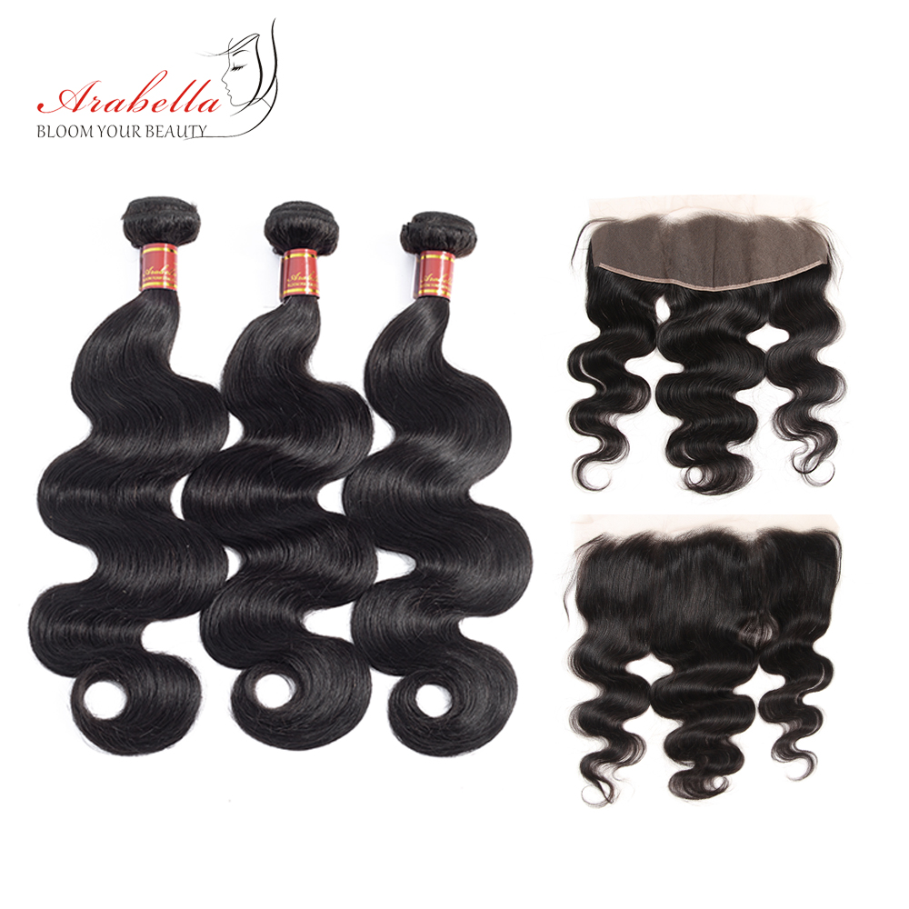 Arabella Brazilian Body Wave Hair Bundles With 13X4 Lace Frontal PrePlucked 100 Remy Human Hair Extension