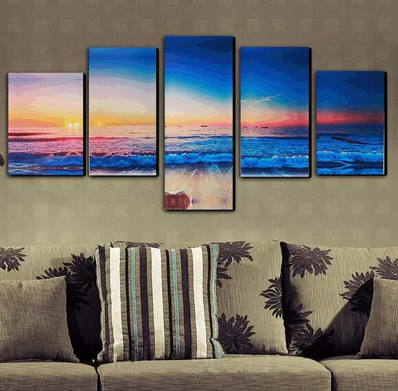 5 Panels Modern Abstract Sunset Painting Canvas Beach Wall