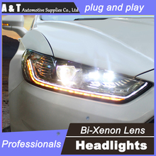 car styling For Ford Mondeo headlights U angel eyes DRL 2013 For Ford Mondeo LED light bar DRL Q5 bi xenon lens h7 xenon
