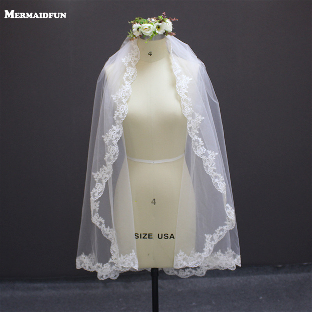 1.2 մետր Lace Edge One Layer Wedding Veil 2019 Bridal Veil Voile De Mariee Հարսանյաց պարագաներ