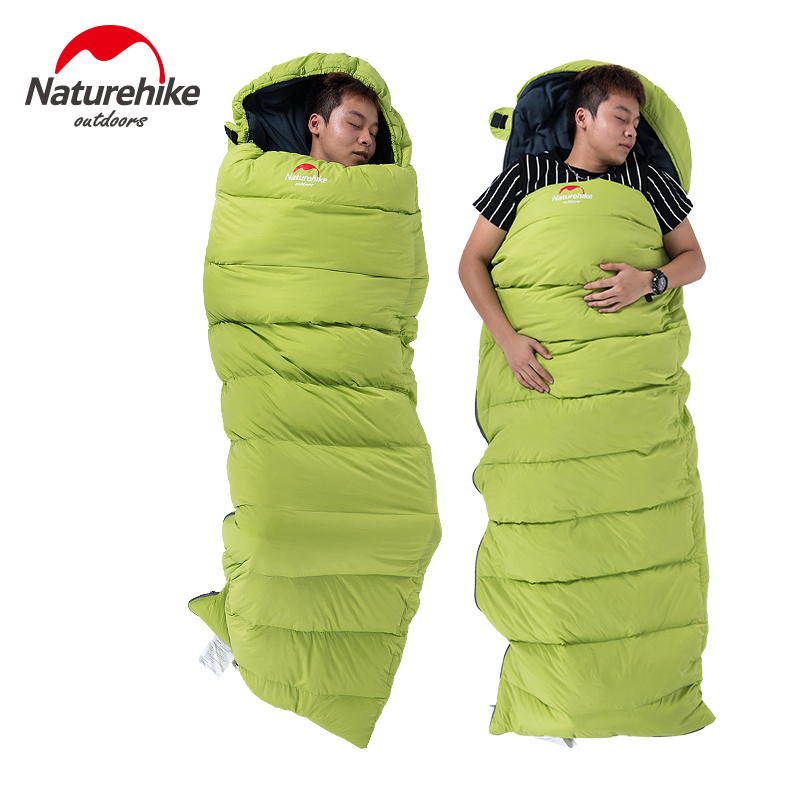 Naturehike Outdoor Camping Winter Down Cotton Mixture Sleeping Bag Envelope Type Single Sleeping Bag With Hooded Fr Cold Weather 210t polyester plaid sleeping bag winter sleeping outdoor camping sport adult envelope type cotton splicing single sleeping bags