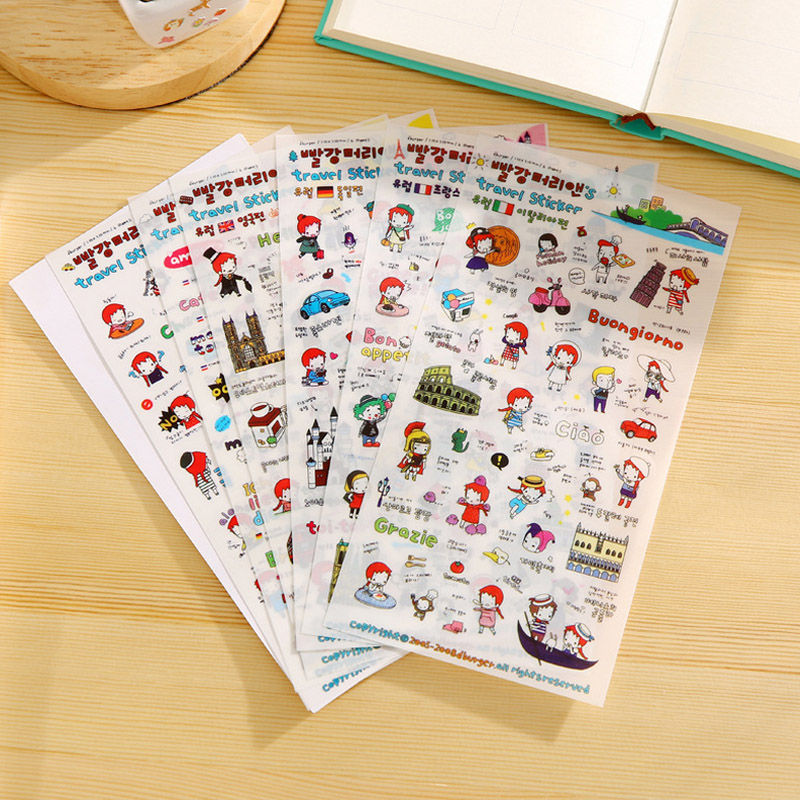 6 pcs/lot Travel diary cute girl paper sticker diy decoration sticker for album scrapbooking kawaii stationery post aspirations of girl diy transparent clear rubber stamp seal paper craft photo album diary scrapbooking paper card rm 244