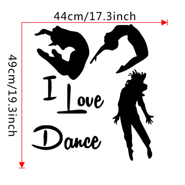 Online Shop I Love Dance Wall Stickers Home Decor Three Dancers Wall
