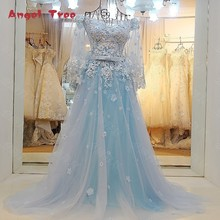 Hot Sales  Angel Tree 100% Real Photos Lace Wedding Dresses Saches Flowers Appliques Crystal Bridal Gown Vestido de Noiva