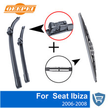 QEEPEI Front and Rear Wiper Blade no Arm For Seat Ibiza 2006-2008 High quality Natural Rubber windscreen 21''+19''