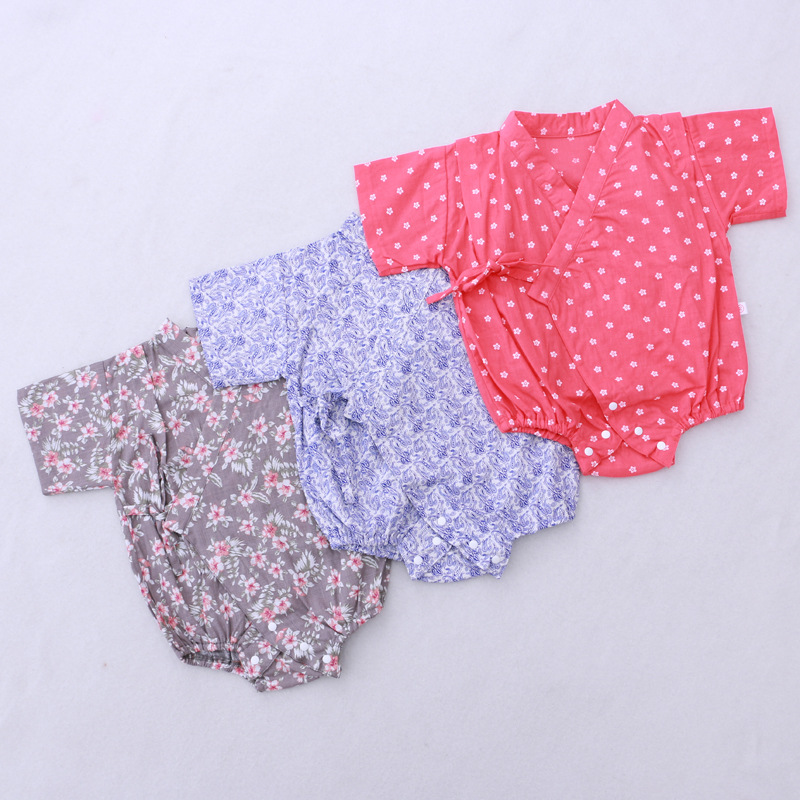 2018 New Floral Japanese Kids clothes Kimono Summer Baby clothing Girls Boys Rompers Cotton Casual Tracksuit Infants Jumpsuits cotton baby rompers set newborn clothes baby clothing boys girls cartoon jumpsuits long sleeve overalls coveralls autumn winter