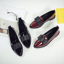 Women Pointed Toe Oxford Shoes Casual Comfortable Slip Flat Shoes