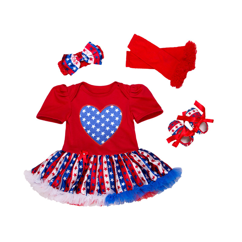 Children clothing independence day celebration classic colorful girls dress + shoes + head band + socks kids dresses for girls day dress