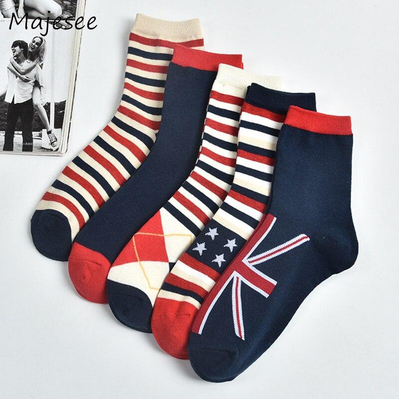 New Autumn Cotton Men Sock Printing Fashion England Style Mens Tube Socks Comfortable Winter Breathable High Elasticity 5 Colors