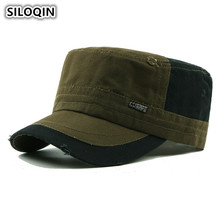 SILOQIN Mens Cap Retro Army Military Hats For Men Male Bone Flat Top Caps Damaged Decoration Vintage Adjustable Size Dad Hat