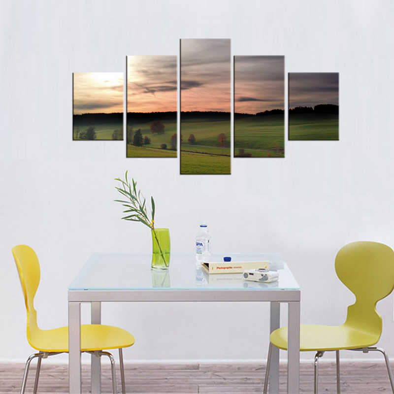 5 Pieces Free Shipping Sunset Grassland Canvas Painting Landscape Prints Modern for Living Room Home Decor Wall Art Framed