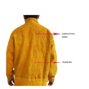 Image 4 - מעיל ומכנסיים ארוכים מגן הלחמה ריתוך בטיחות עור פרה 500 מעלות חום עמיד GM1014 Custome