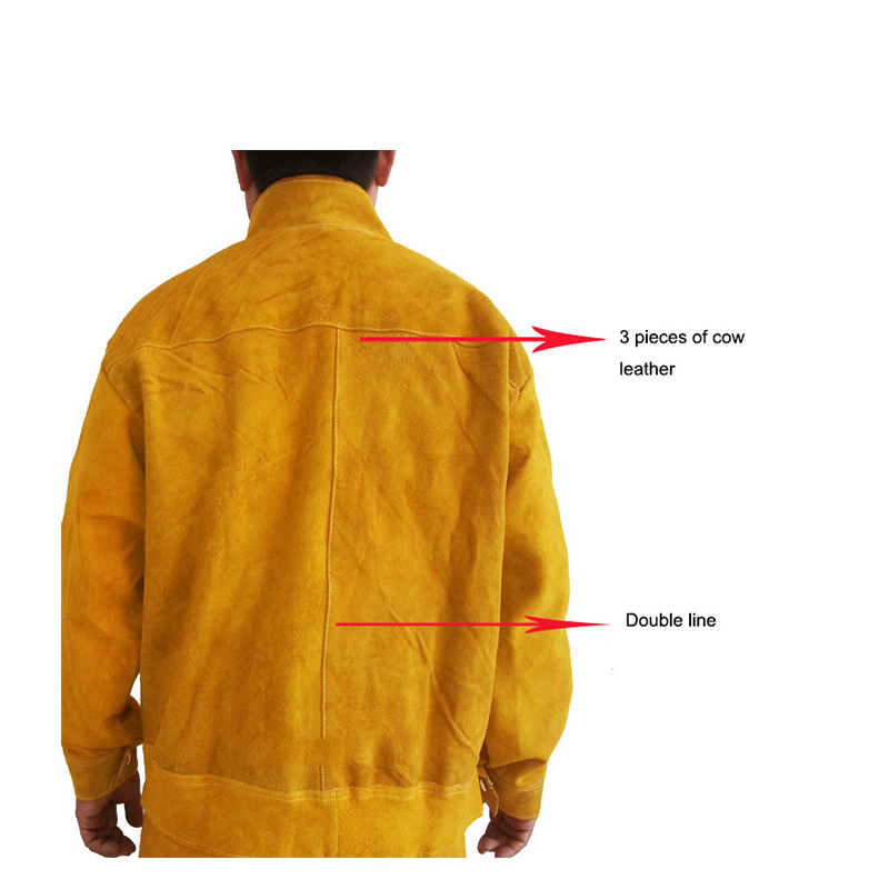 Image 4 - Cow Leather Safety Welding Jacket &Long Pants Protective Soldering Custome 500 Degree Heat Resistant GM1014-in Safety Clothing from Security & Protection