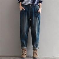 חורף ג 'ינס נשים ג' ינס בתוספת גודל M ~ 3XL חם Loose מקרית מכנסיים ג 'ינס הרמון בציר ג' ינס מכנסיים רגל רחבים ג 'ינס החבר