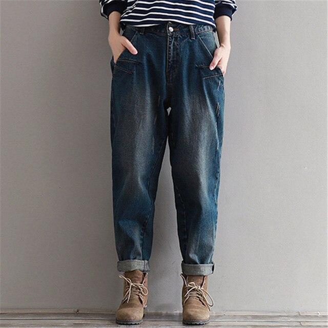 01fdd450254 Winter Jeans Casual Loose Warm Jeans Women Plus Size M~3XL Denim Pants  Vintage Harem
